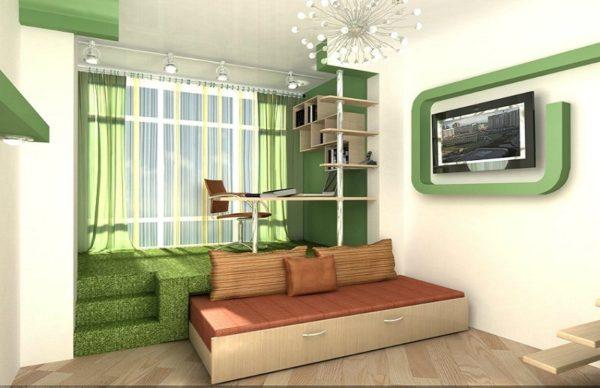 Кроме разделения помещения на зоны, подиум в интерьере возводится для хранения вещей и даже кровати, которые не помещаются в комнате