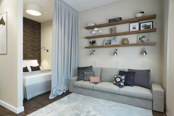 Кровать в нише в однокомнатной квартире