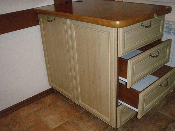 Кухонная тумбочка с ящиками
