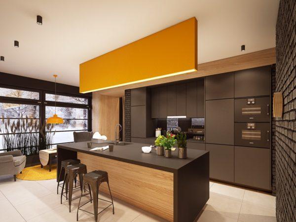Маленькая кухня коричневого цвета станет еще меньше, если использовать при ее отделки большое количество тёмных тонов серого и чёрного цвета
