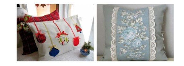 На подушках были изображены различные цветы, животные и даже имена людей