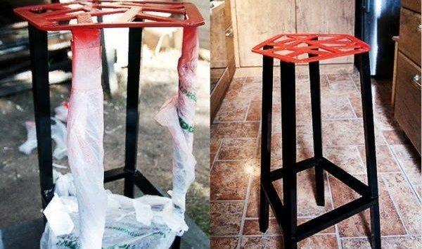 Необходимо окрасить сиденье стула. На этом этапе процесс изготовления изделия считается завершенным.