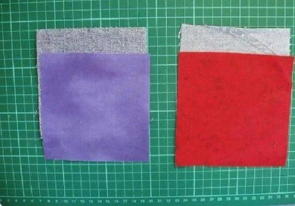 Необходимо взять квадрат из джинсовой ткани и приложить его к обратной стороне подкладочной ткани