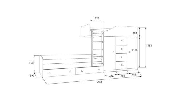 Оригинальная двухъярусная кровать со шкафом