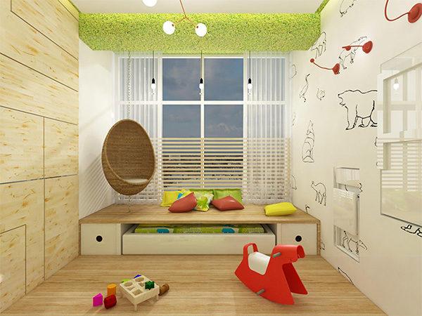 Подиум с выдвижной кроватью в детской спальне