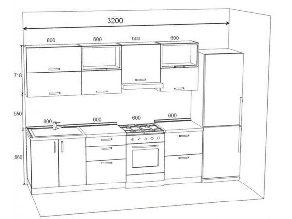 Расположение кухонной мебели вдоль стены