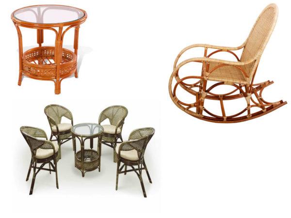 Различные варианты мебели из ротанга