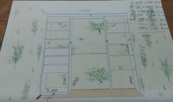 Схема будущего шкафа