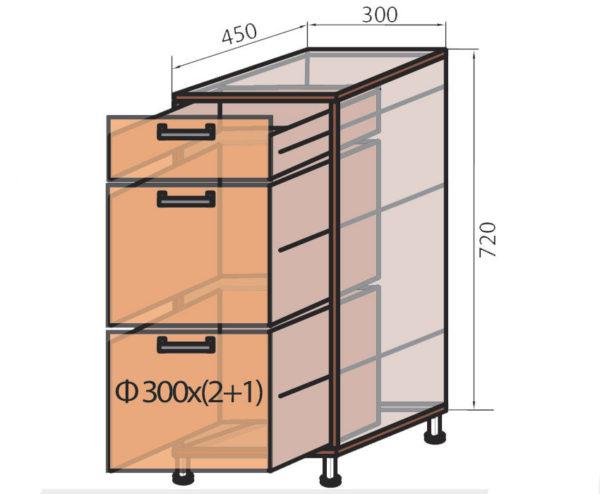 Схема компактной кухонной тумбы
