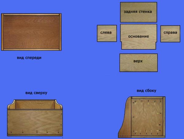 Схема необходимых деталей для полки