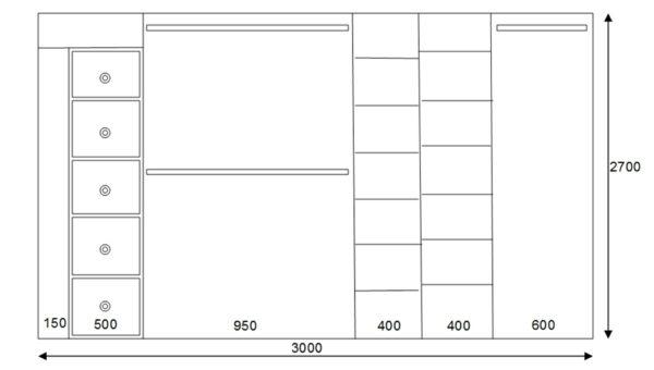 Схема стандартного шкафа-купе
