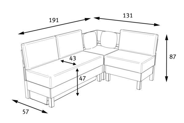 Схема углового модуля для четырех человек