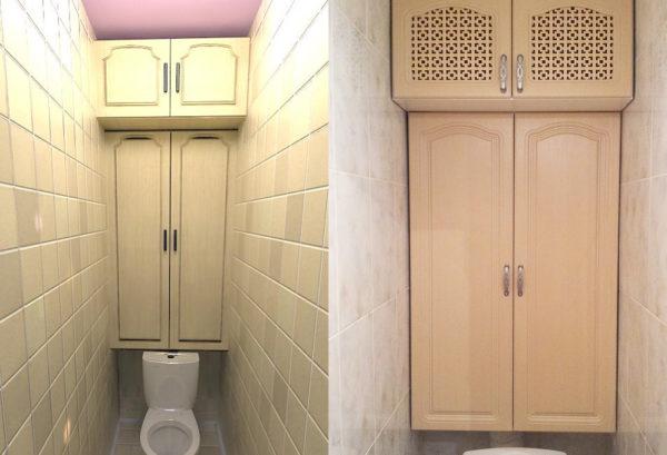 Шкафчики должны идеально вписываться в габариты помещения и не затруднять эксплуатацию унитаза