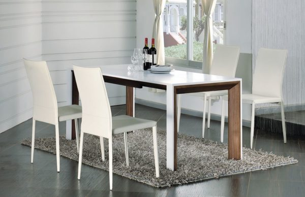 Современный обеденный стол прямоугольной формы, темный орех и белый лак
