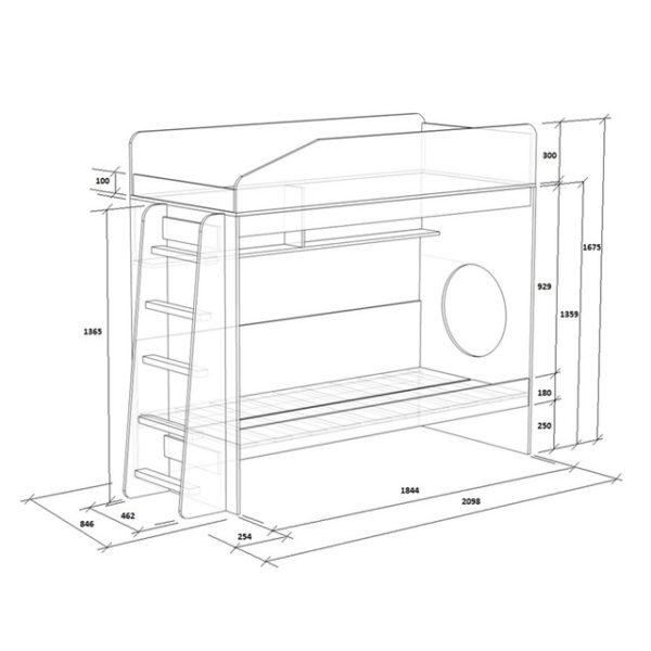 Стандартная схема двухъярусной кровати