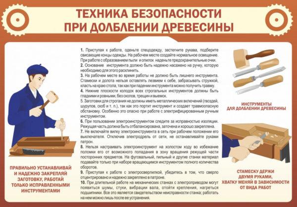 Техника безопасности при долблении древесины