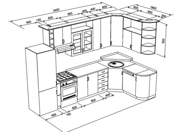 Угловая планировка мебели