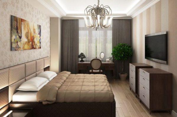 В узких комнатах кровать должна ставиться параллельно удлиненной стене