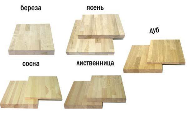Виды мебельного щита – береза, ясень, сосна, лиственница, дуб