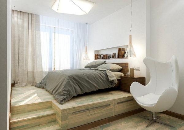 Выдвижная кровать с подиумом у окна