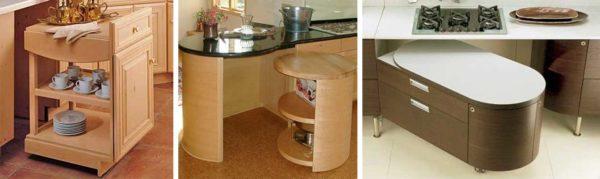 Выкатные тумбы, ящики и другие мобильные элементы мебели в кухне