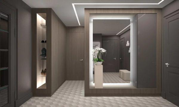 Зеркало с подсветкой для прихожей должно быть прямоугольной вытянутой формы
