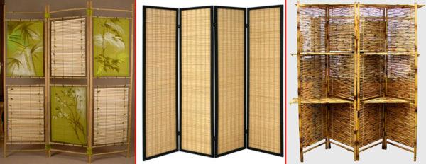 Ширмы из бамбука лучше всего подходят для интерьеров в японском стиле или кантри