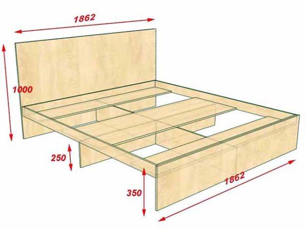 Примерные параметры двуспальной кровати