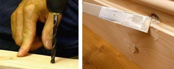 Исправить дефект поможет шпаклевка из клея ПВА и древесной пыли