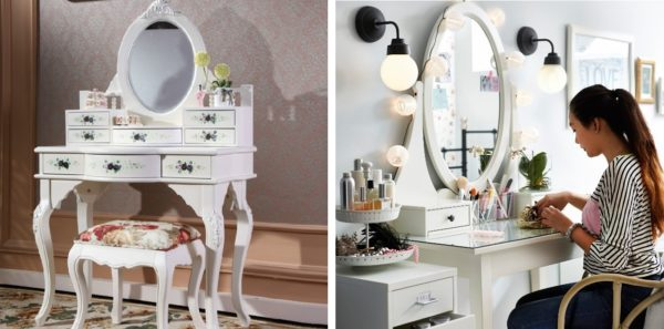 Если площадь комнаты позволяет, рекомендуется дополнить интерьер стильным туалетным столиком