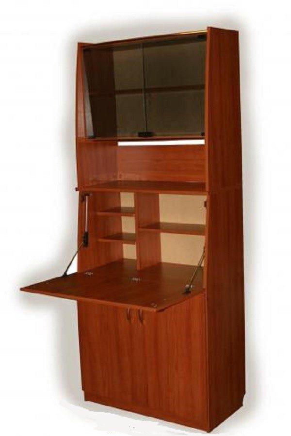Шкаф со стеклянным фасадом, оснащенный откидной дверцей, подходящий для хранения различной литературы и всяческих мелочей