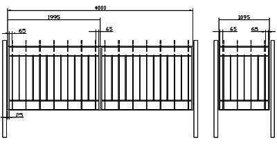 Чертеж распашных ворот из профиля