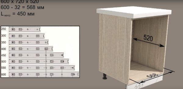 За основу будет взят стол стандартных габаритов: длиной 520 миллиметров и высотой 720 миллиметров