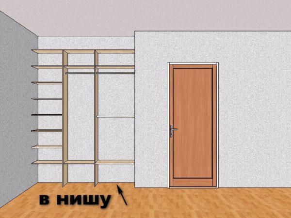 В условиях ограниченного пространства шкафы-купе размещаются в нишах