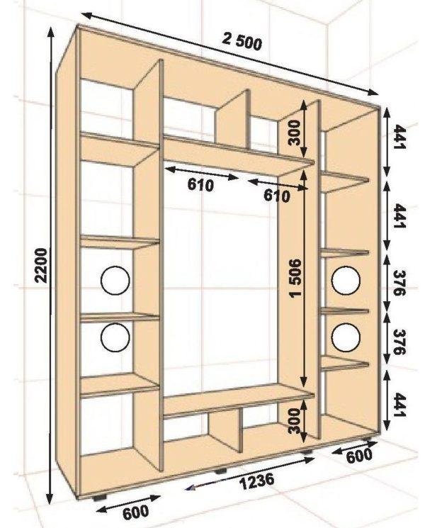 Размеры шкафа и его внутренних отделов подбирают с учетом индивидуальных требований