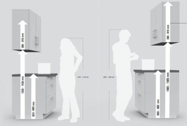 Параметры мебели на кухне в зависимости о роста человека
