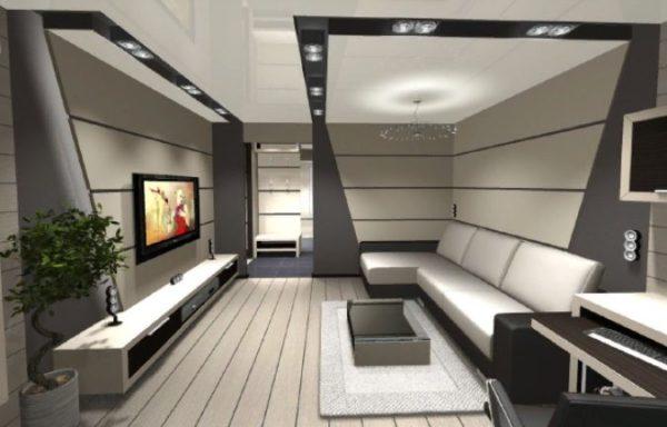Мебель лаконичная, с простыми формами, однотонная, функциональная