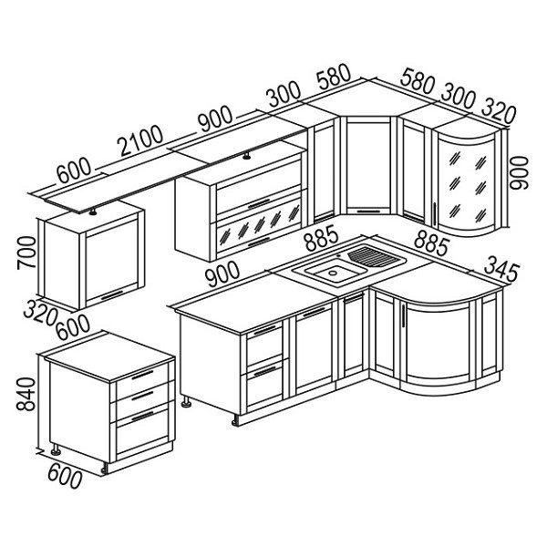 Стандартная величина навесных шкафов, устанавливаемых в кухню в качестве элементов гарнитура