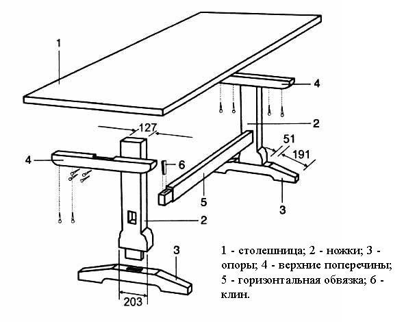 Чертеж стола из массива