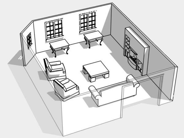 Вариант кругового расположения мебели