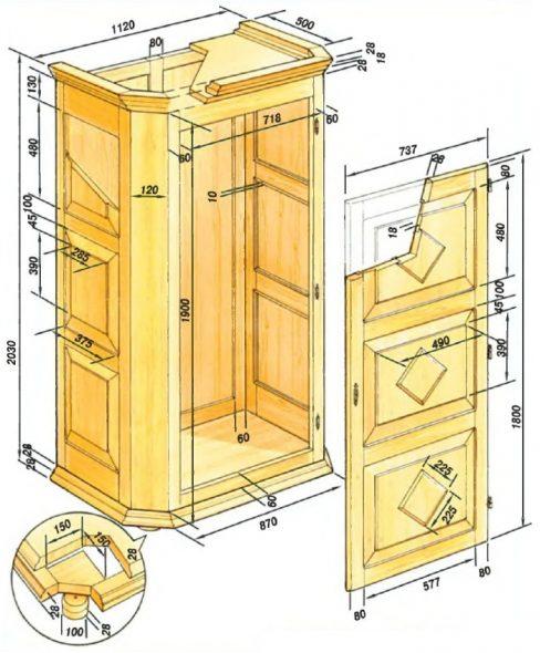 Подробная разработка чертежа шкафа