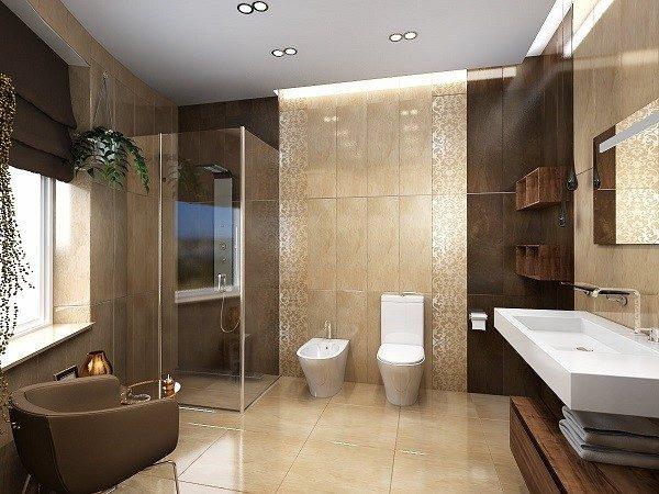 Коричневая ванна очень похожа на спа-салон