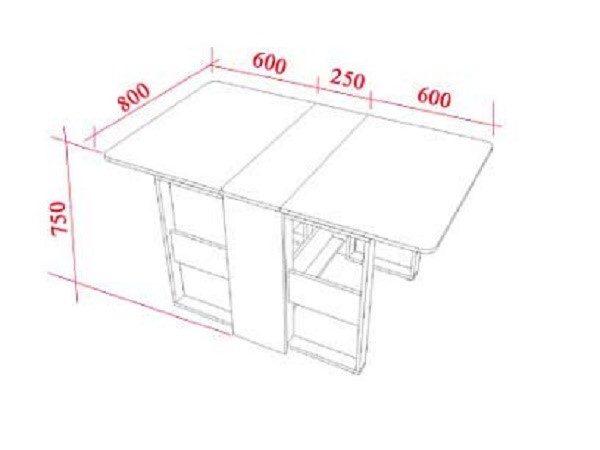 Чертеж будущего стола с размерами, представленный в миллиметрах