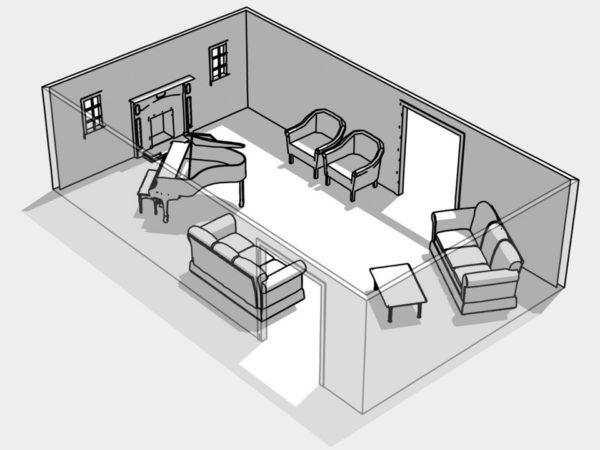Ассиметричный способ расстановки мебели
