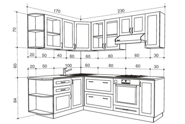 Размеры кухонного гарнитура и его основных элементов подбираются с учетом параметров помещения