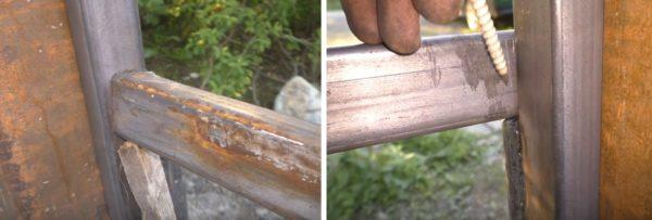 Примеряют нижнюю направляющую к опорам и намечают линию обреза