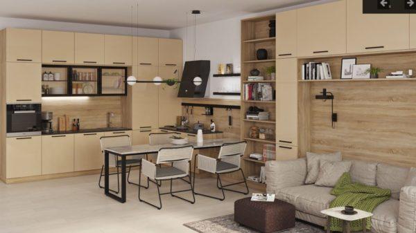 Кухня из МДФ, совмещенная с гостиной