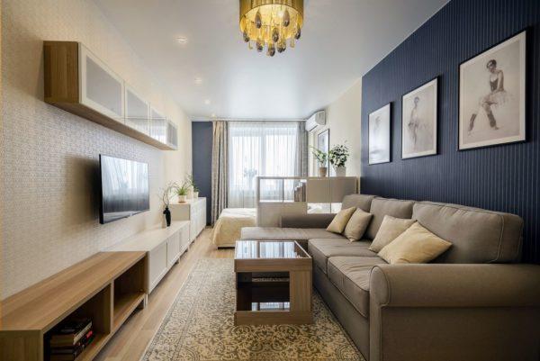 Разделение вытянутой узкой комнаты на зону гостиной зону сна