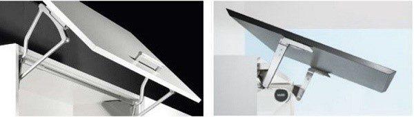 Откидные механизмы для фасадов кухни, оснащенные доводчиками