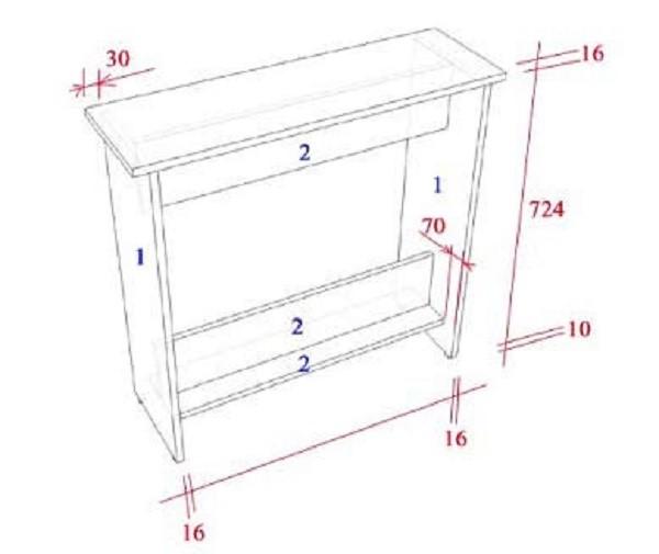 Чертеж, нужный для детализирования параметров наших мебельных элементов